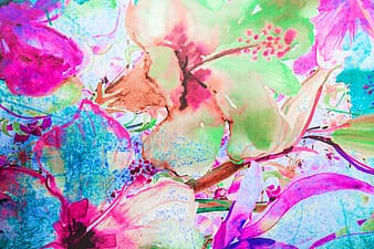 Pink and green hibiscus painting