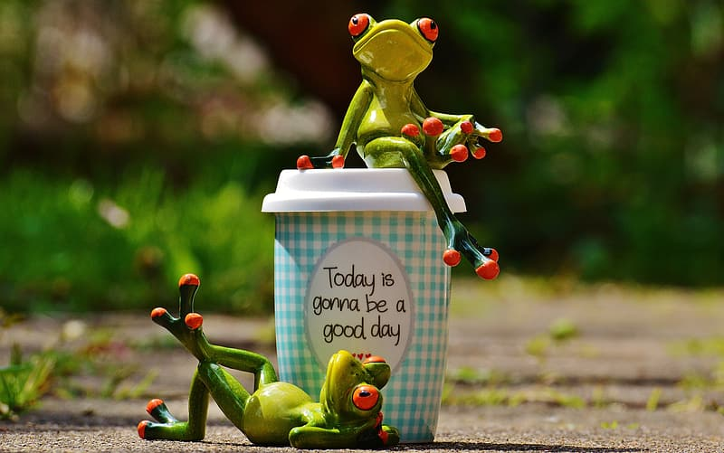 Two tree frog ceramic figurines and green tumbler