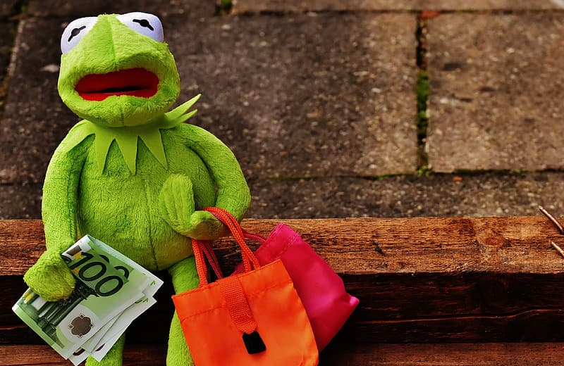 Hermit the Frog plush toy holding banknote