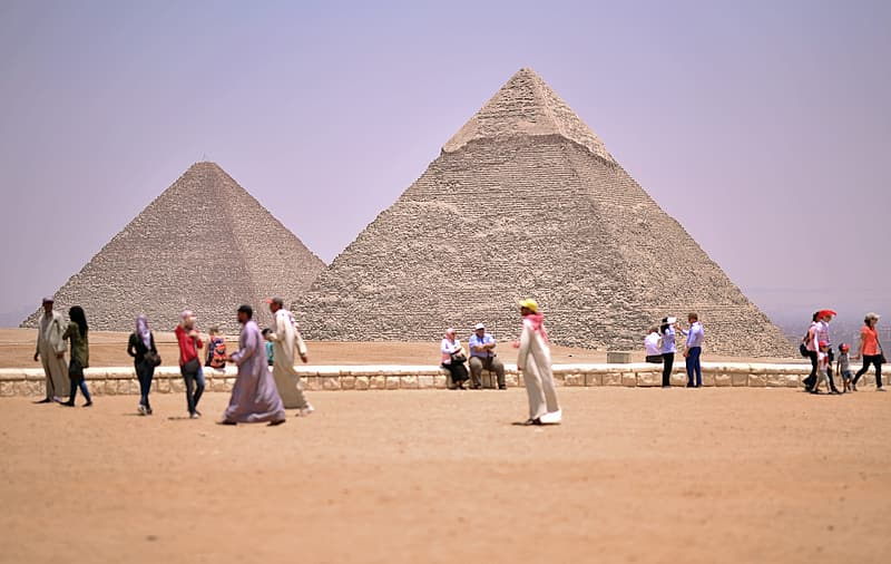 People walking near Great Pyramid of Giza, Egypt