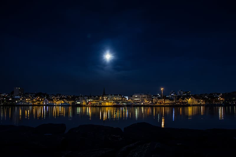 Panoramic photography of harbor during nighttime