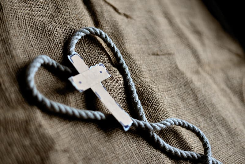 White rope on brown textile