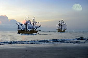 Brown sail ship on sea during sunset