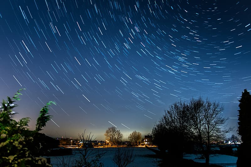 Timelapse photo of night sky with stars