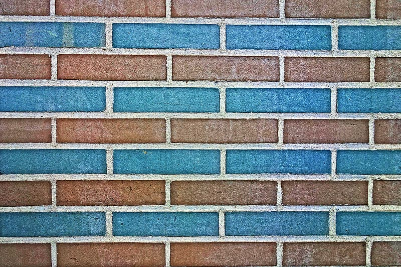 Blue and brown concrete brick wall