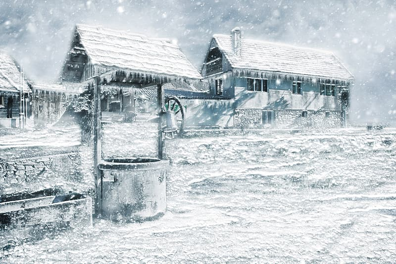 Snow-covered house painting