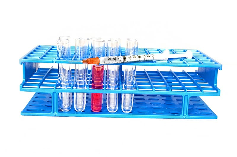 Text tube with blue organizer