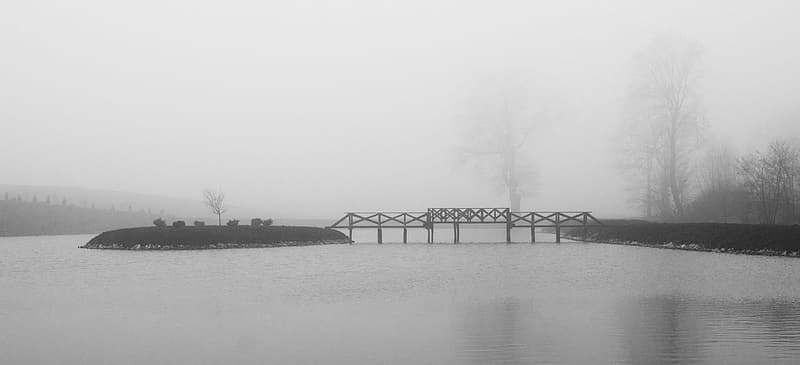 Bridge over river during foggy weather