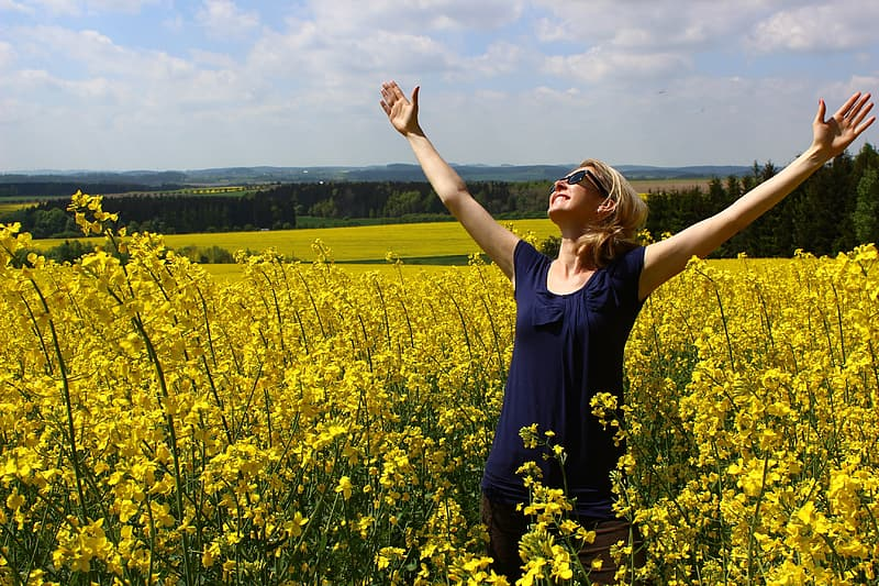 Woman in blue scoop-neck dress smiling while looking in sky besides yellow petaled flower field during daytime