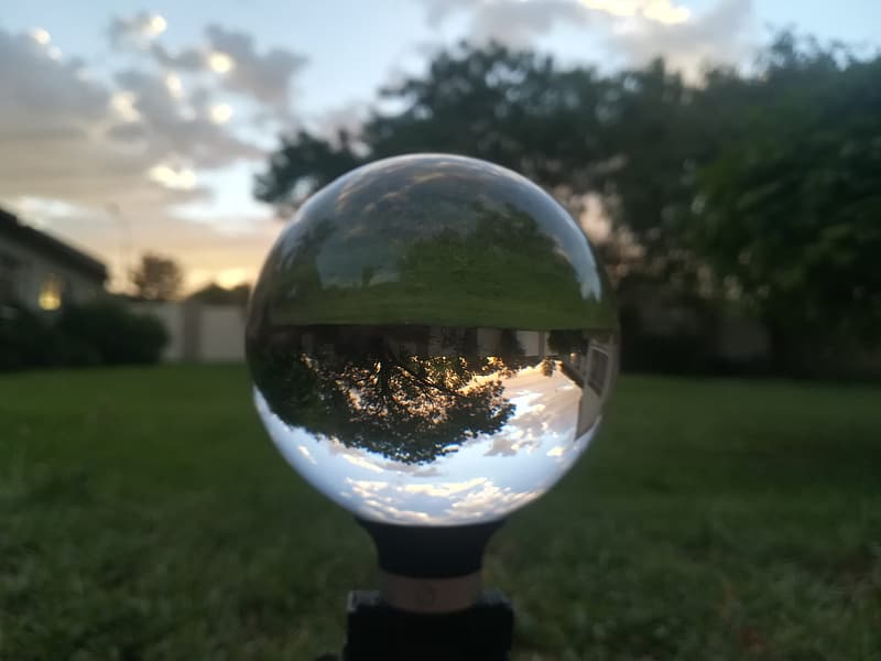 Clear glass ball on green grass field during daytime