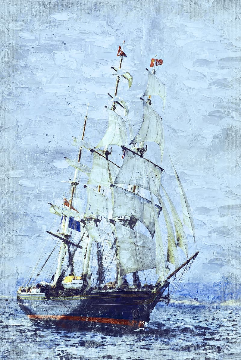 White sail ship on body of water