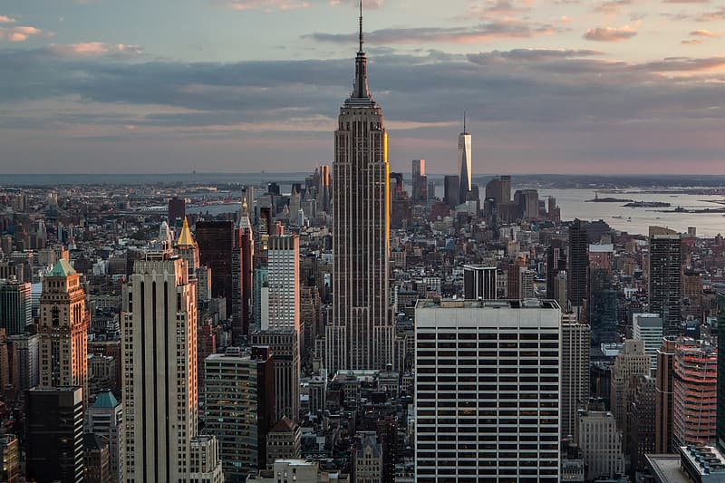 Cityscape shot of Manhattan and the Empire State Building in New York City. This shot was captured from the Top Of The Rock at the Rockefeller Center in Midtown Manhattan