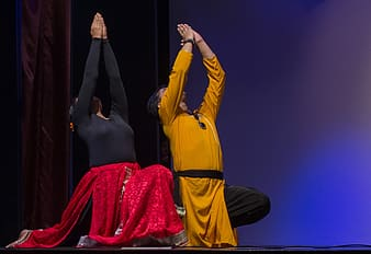 Man and woman performing