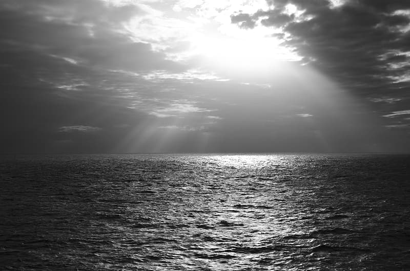 Grayscale photo of ocean water