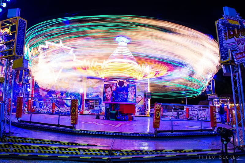 Time lapse photography of carousel during night time