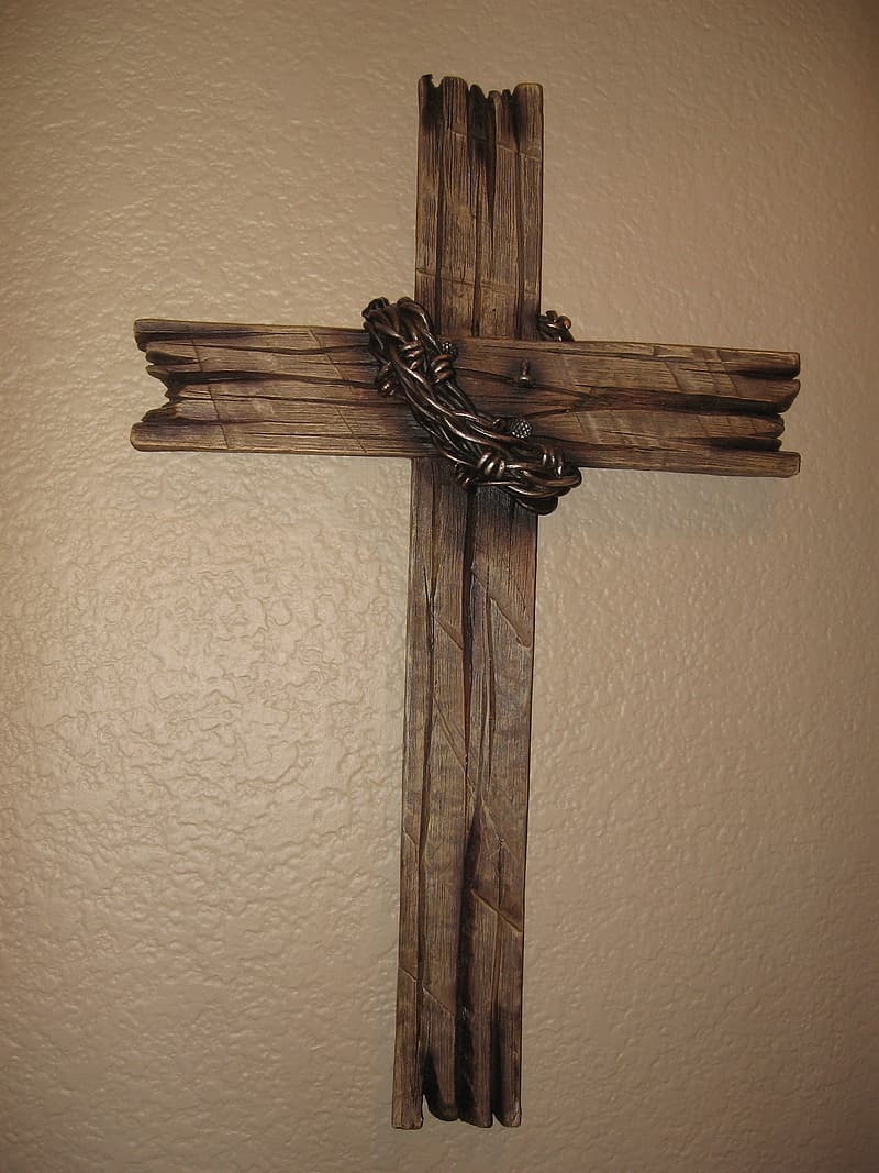 Brown wooden cross wall display