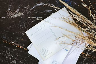 White printer paper on black table