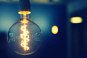 Light bulb with bokeh lights