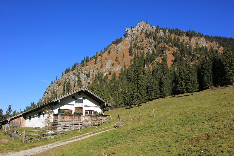 Landscape photography of house and mountain