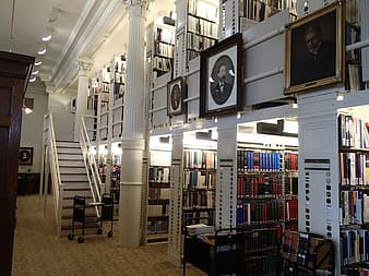 Library with photo frames