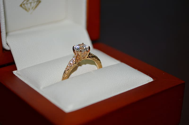 Gold ring with box