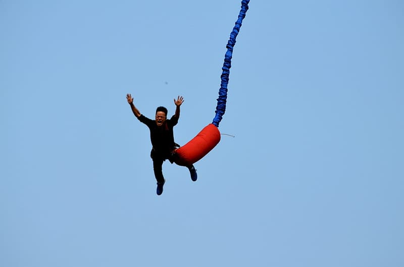 Person doing bungee jump activity