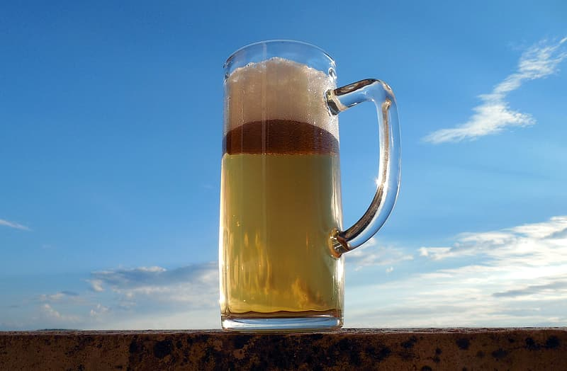 Closeup photo of beer mug filled with beer