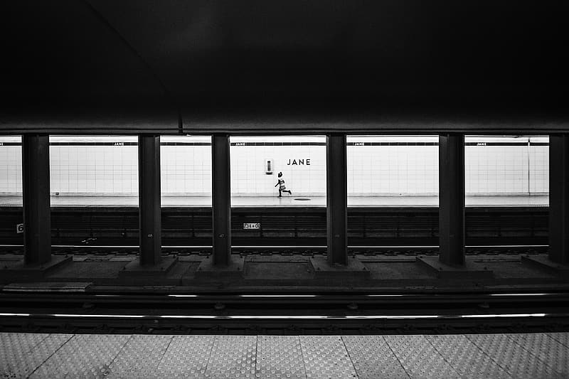 Person running on subway station
