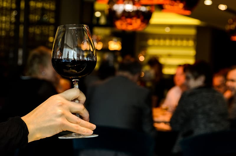Person holding wine glass