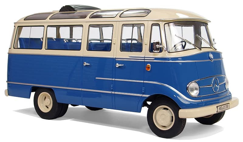 White and blue bus scale model
