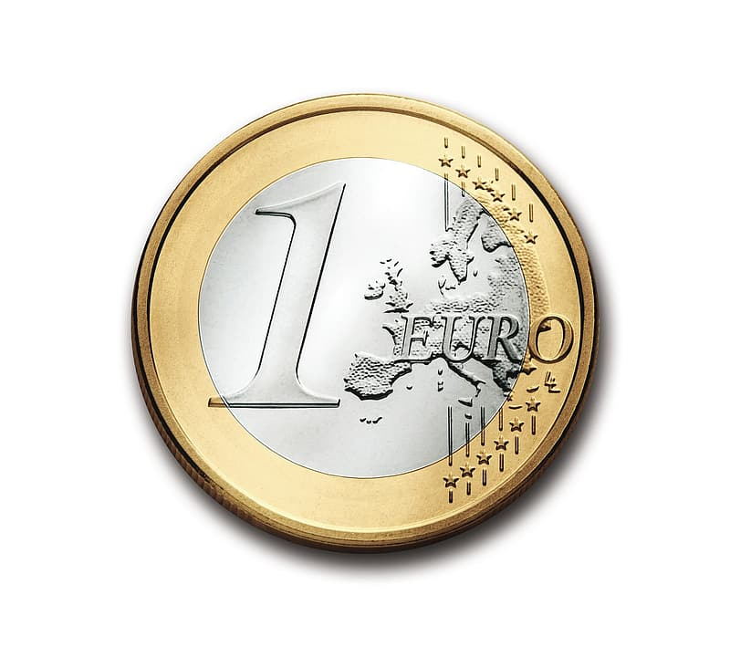 Round silver and gold 1 Euro coin