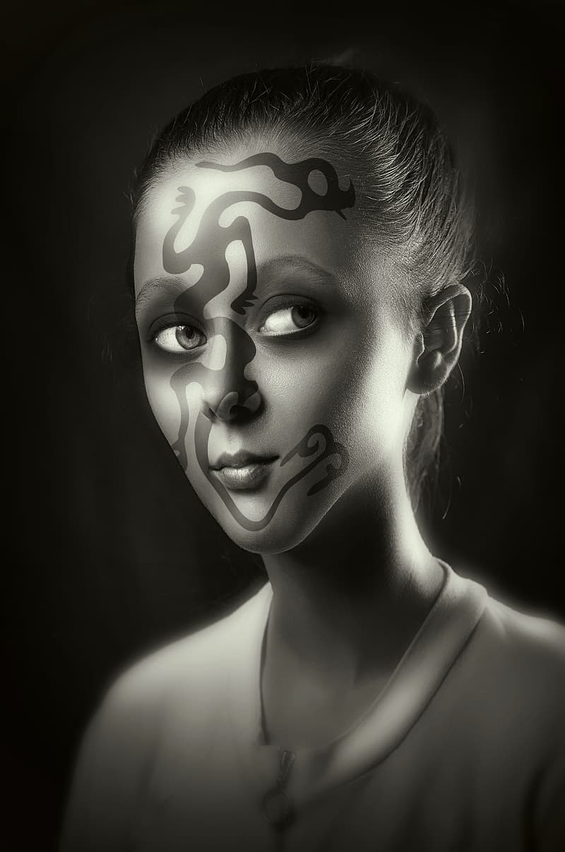 Grayscale Photo Of Woman With Face Paint Pikrepo