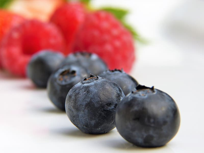 Selective focus photography of blueberries