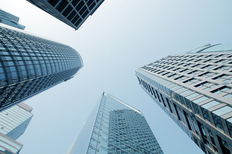 Worm's eye view of high-rise buildings