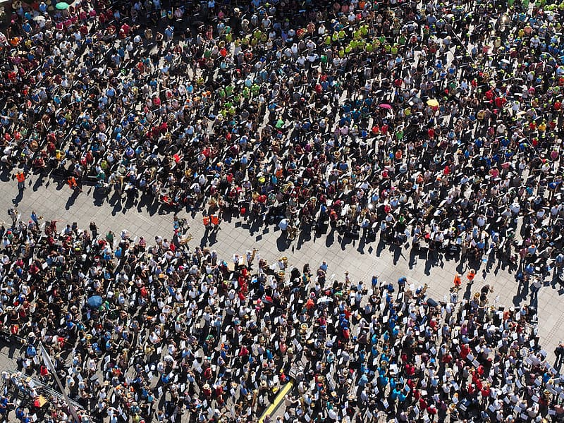 Aerial shot of people