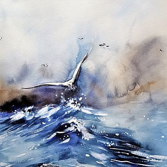 Bird flying over the body of water painting