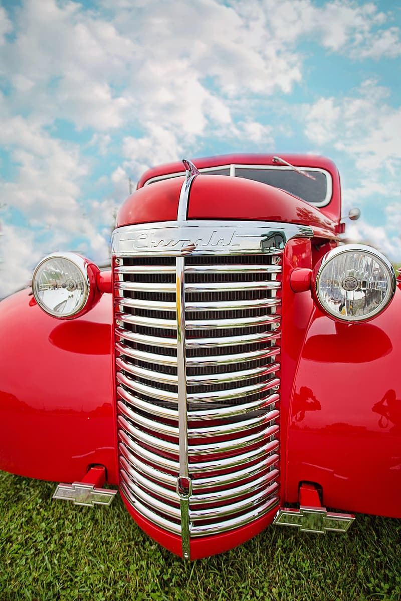 Close up photograph of red car