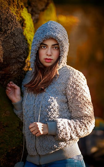 Photography woman wearing gray fur hooded jacket