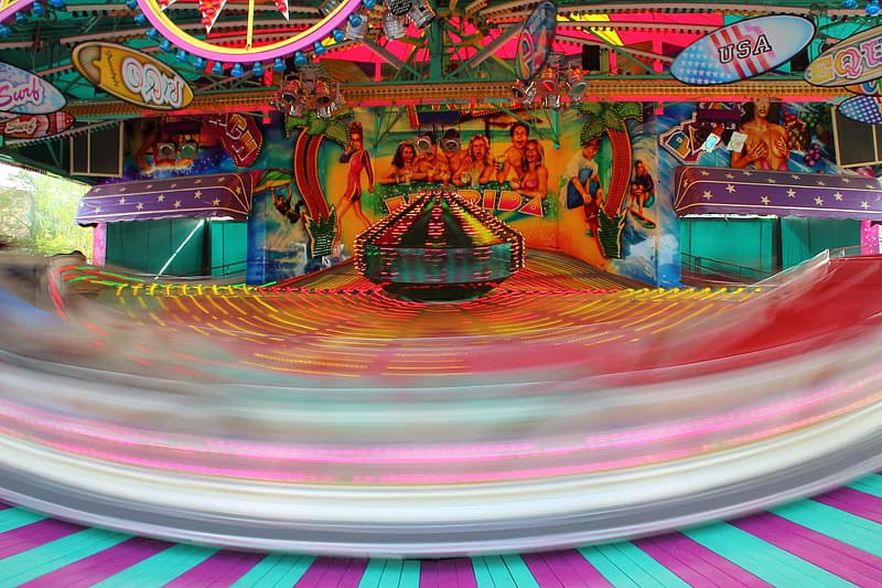 Time lapse photography of carousel