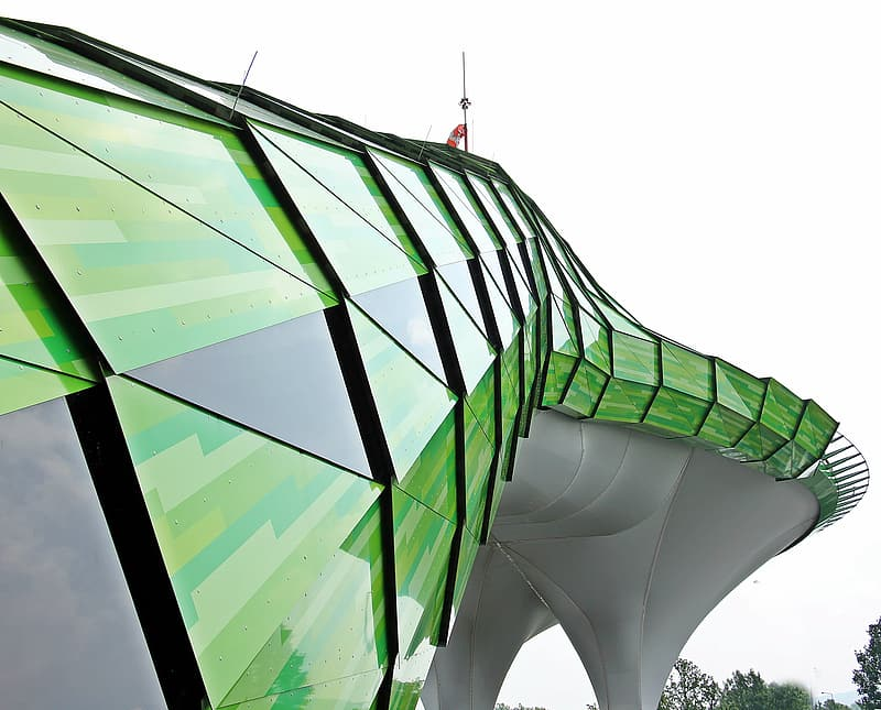 Green and white glass building