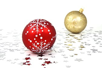Two gold-colored and red baubles