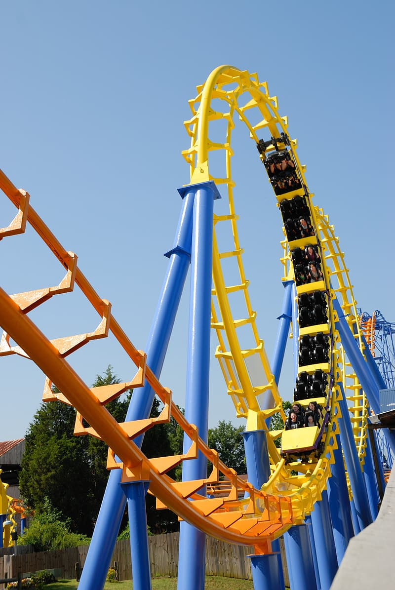 Yellow and blue roller coaster