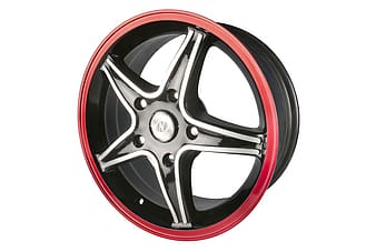 Silver, red, and black 5-spoke vehicle wheel