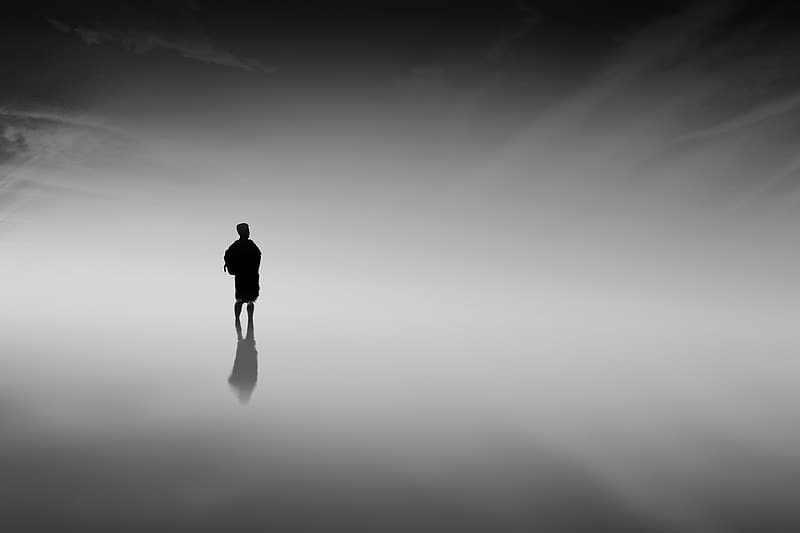 Silhouette photo of man standing