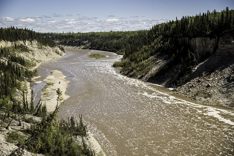 Landscape and Scenery of the Hay River at Louise falls