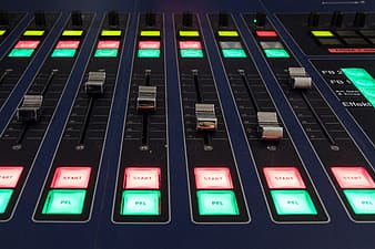Blue and black lighted sound mixer