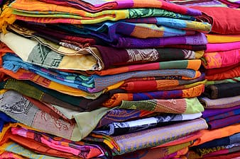 Folded assorted-color textile lot