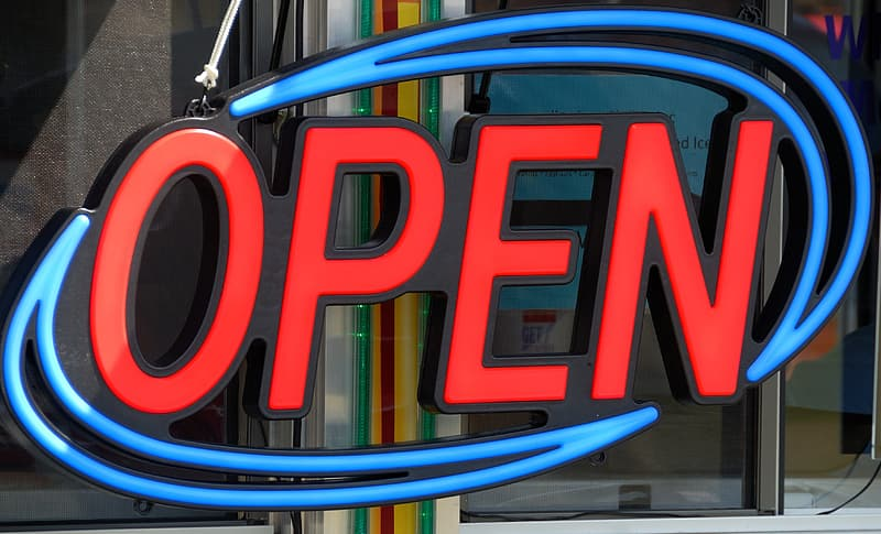 Red and blue Open neon light signboard