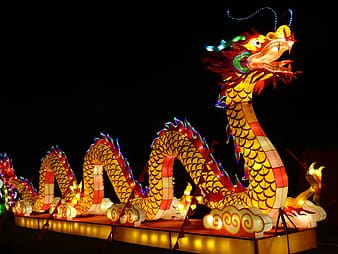 Red and blue dragon neon light signage