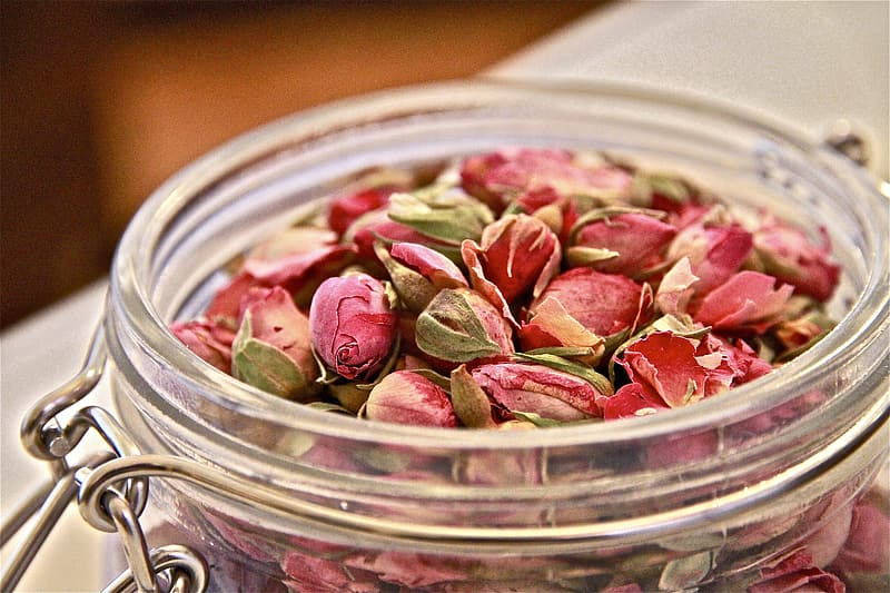 Pink rose buds in clear glass bowl